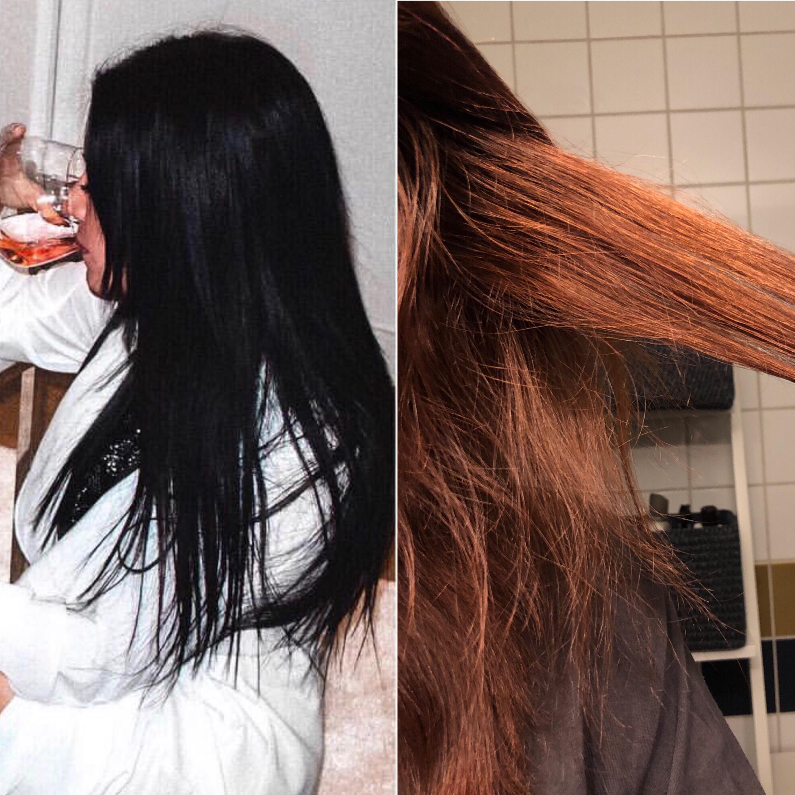 avfärgning mörkt hår